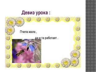 Девиз урока : Пчела мала , да и та работает .