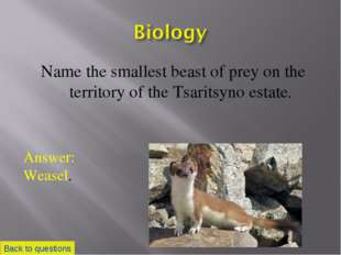 Name the smallest beast of prey on the territory of the Tsaritsyno estate. Ba