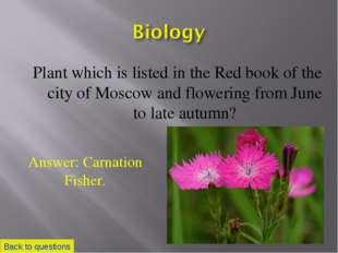Plant which is listed in the Red book of the city of Moscow and flowering fro