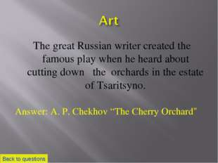 The great Russian writer created the famous play when he heard about cutting