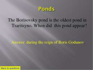 The Borisovsky pond is the oldest pond in Tsaritsyno. When did this pond appe