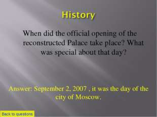 When did the official opening of the reconstructed Palace take place? What wa