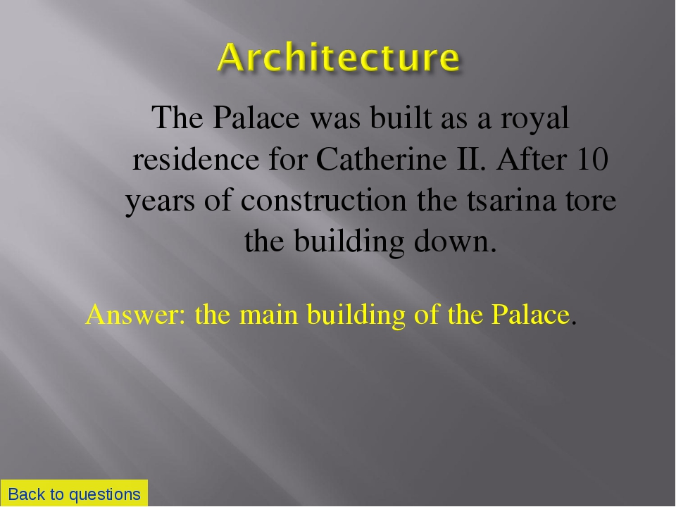 The Palace was built as a royal residence for Catherine II. After 10 years of...