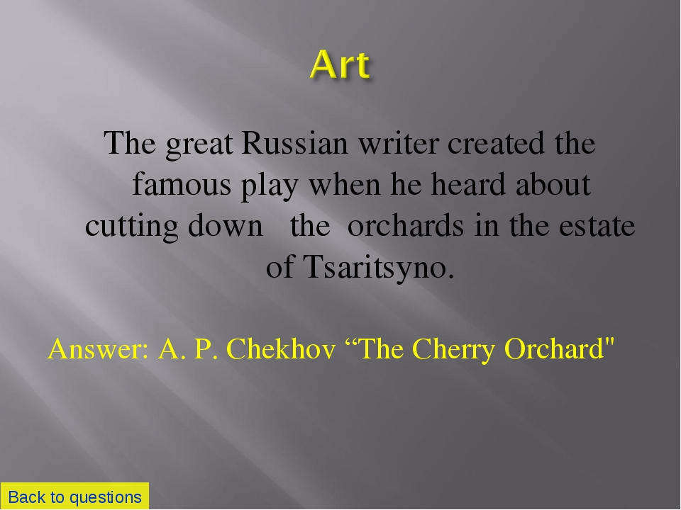 The great Russian writer created the famous play when he heard about cutting...