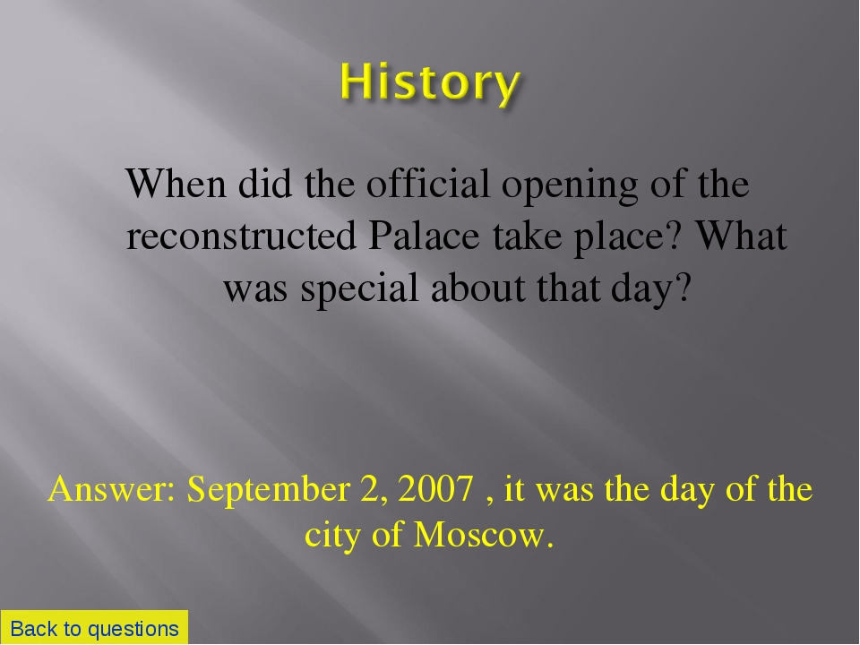 When did the official opening of the reconstructed Palace take place? What wa...