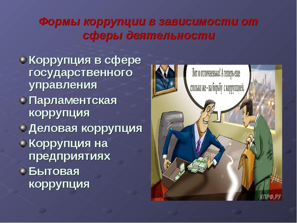 Формы коррупции в зависимости от сферы деятельности Коррупция в сфере государ...