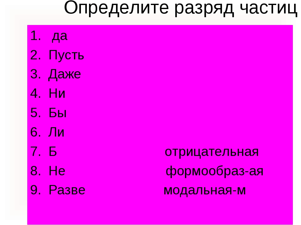 Определите разряд частиц да Пусть Даже Ни Бы Ли Б отрицательная Не формообраз...