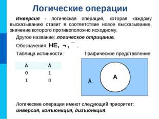 Инверсия - логическая операция, которая каждому высказыванию ставит в соответ