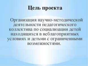 Цель проекта Организация научно-методической деятельности педагогического кол