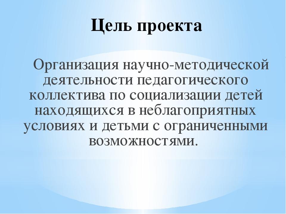 Цель проекта Организация научно-методической деятельности педагогического кол...