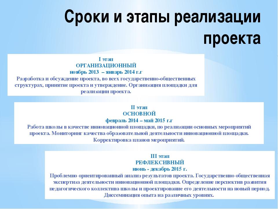 Сроки и этапы реализации проекта I этап ОРГАНИЗАЦИОННЫЙ ноябрь 2013 – январь...