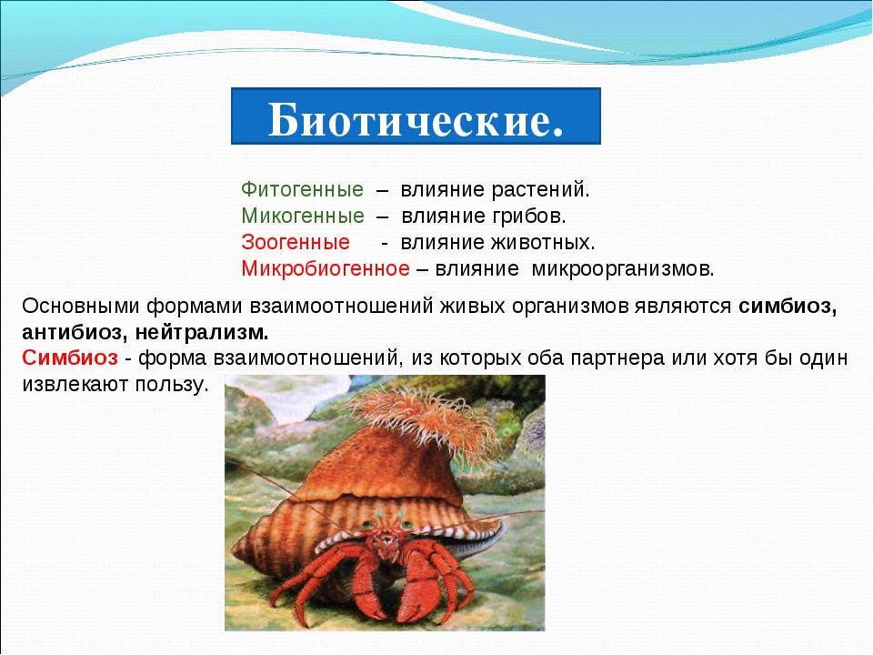 Биотические. Фитогенные – влияние растений. Микогенные – влияние грибов. Зоог...
