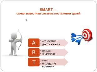 SMART — самая известная система постановки целей T timed опред. по времени