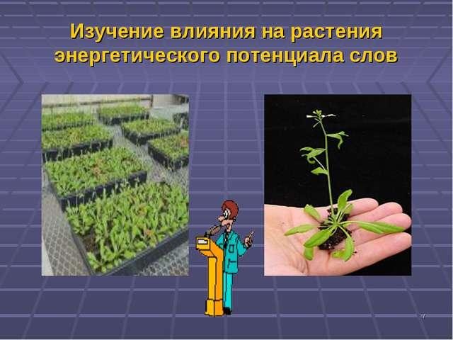 * Изучение влияния на растения энергетического потенциала слов