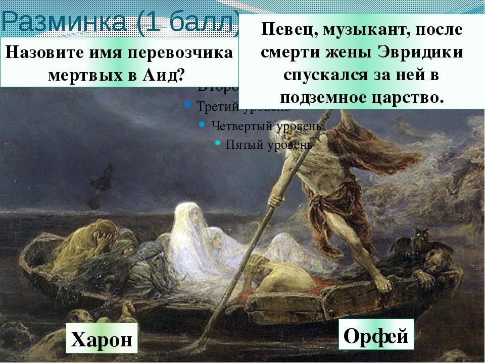 Разминка (1 балл) Певец, музыкант, после смерти жены Эвридики спускался за не...
