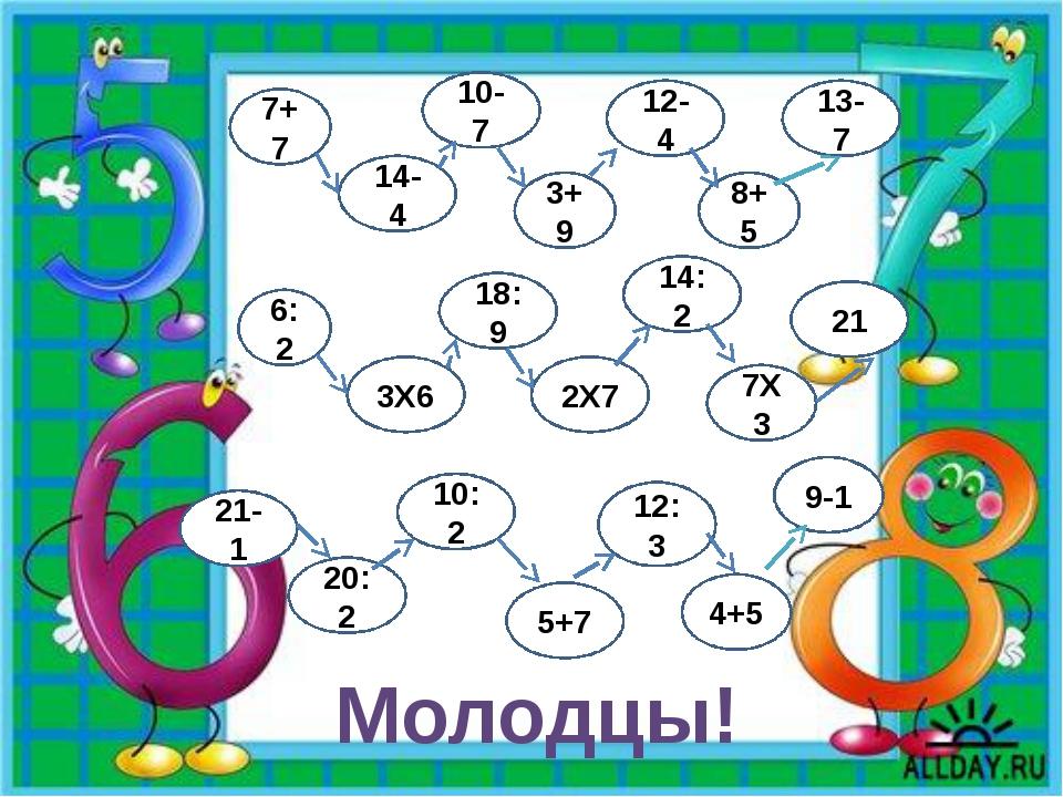 7+7 14-4 3+9 10-7 12-4 8+5 13-7 21-1 20:2 5+7 10:2 9-1 12:3 4+5 6:2 3Х6 2Х7 1...