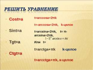 Cost=a Sint=a Tgt=a Ctgt=a t=arcсosa+2πk t=-arcсosa+2πk, k-целое t=arcsina+2π