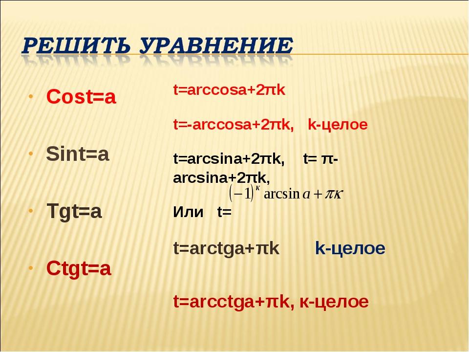 Cost=a Sint=a Tgt=a Ctgt=a t=arcсosa+2πk t=-arcсosa+2πk, k-целое t=arcsina+2π...