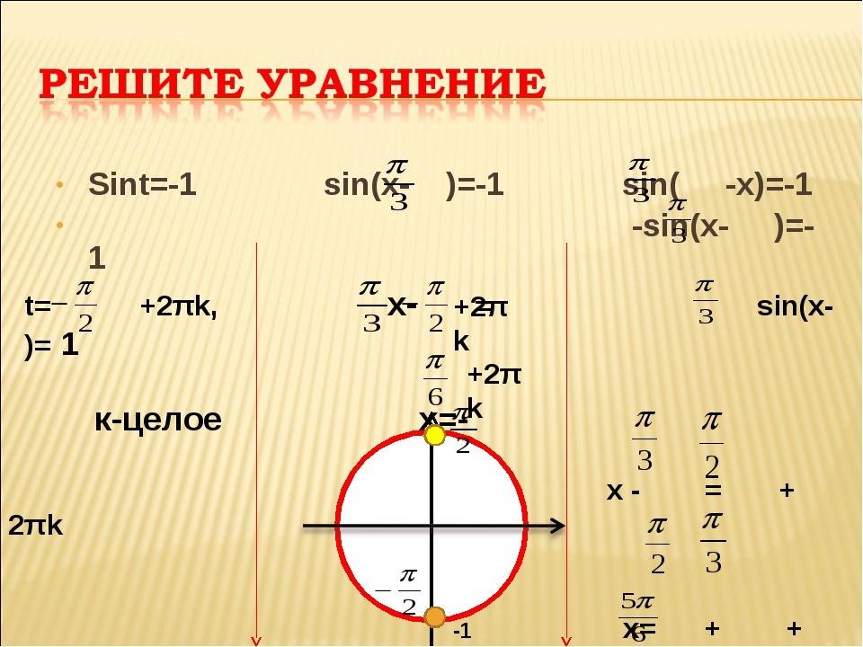 Sint=-1 sin(x- )=-1 sin( -x)=-1 -sin(x- )=-1 -1 t= +2πk, x- = sin(x- )= 1...