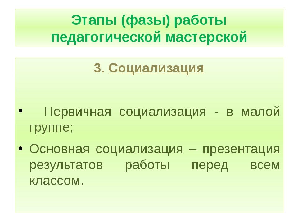 Этапы (фазы) работы педагогической мастерской 3. Социализация Первичная соци...