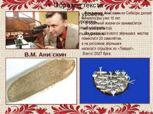 . В.М. Ани́скин Владимир Ани́скин из Сиби́ри делает миниатю́ры уже 15 лет. В