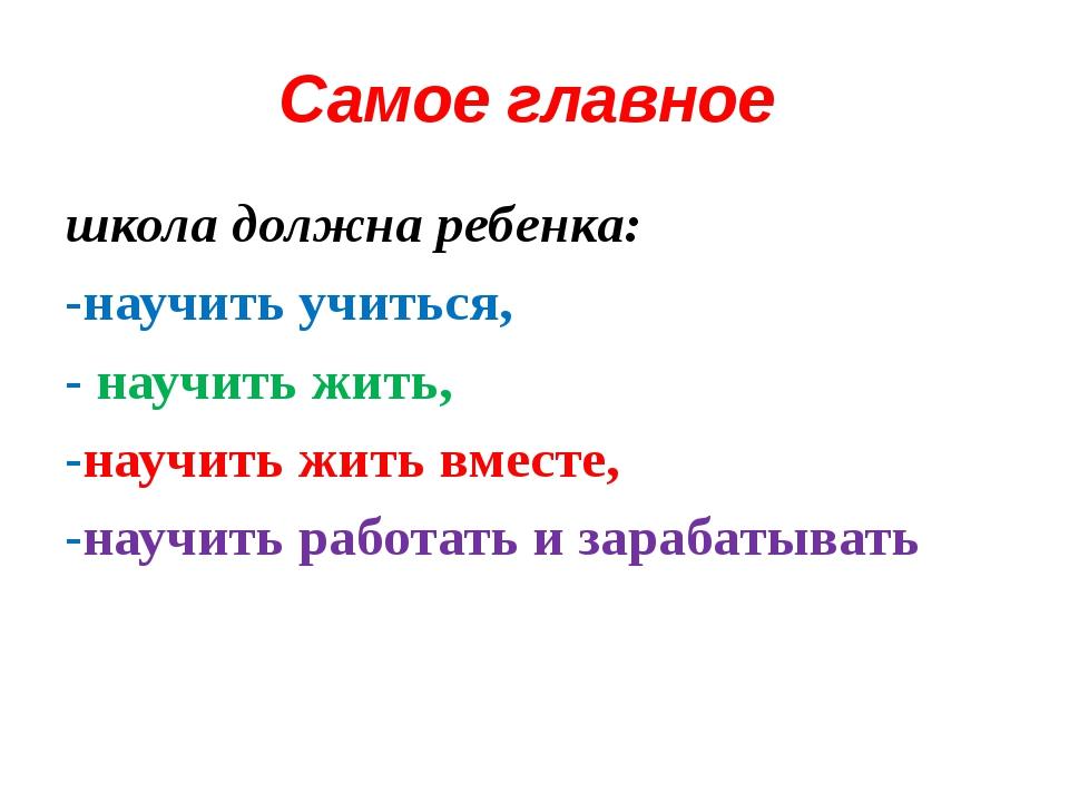 Самое главное школа должна ребенка: -научить учиться, - научить жить, -научит...