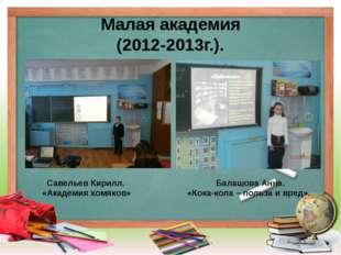 Малая академия (2012-2013г.). Савельев Кирилл. «Академия хомяков» Балашова Ан