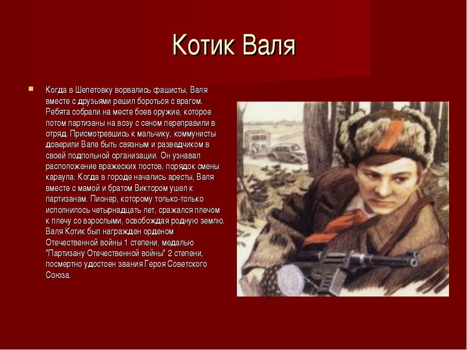 Котик Валя Когда в Шепетовку ворвались фашисты, Валя вместе с друзьями решил...
