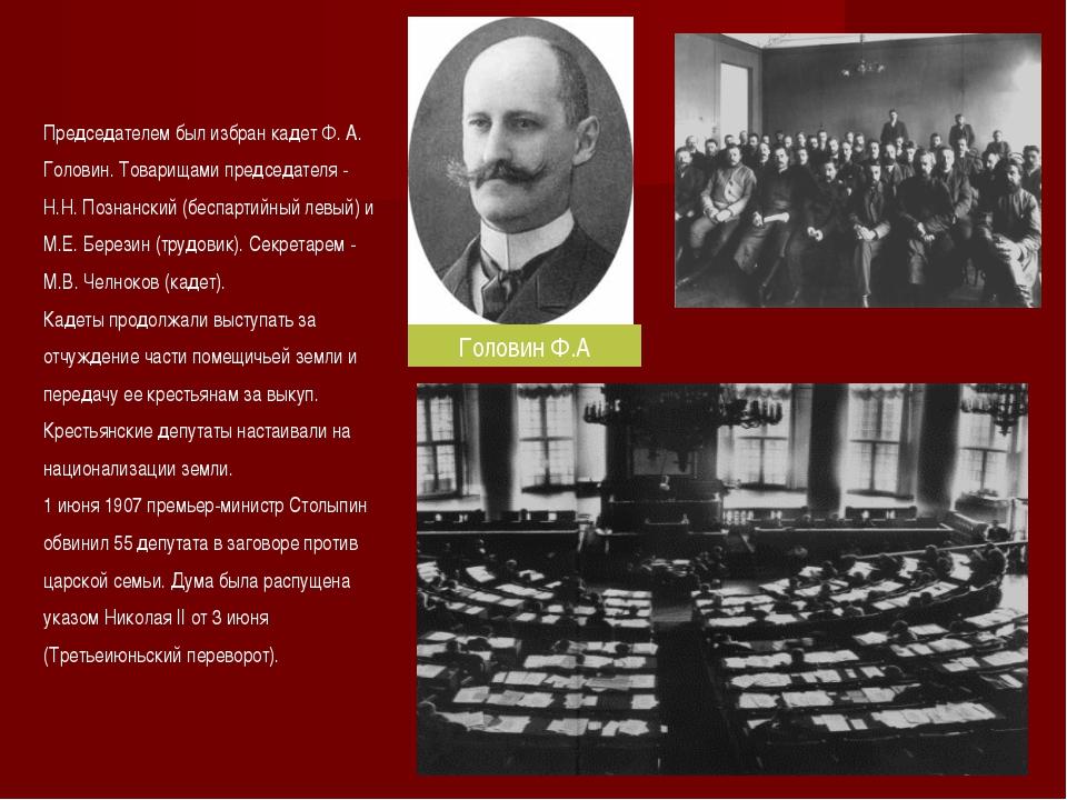 Председателем был избран кадет Ф. А. Головин. Товарищами председателя - Н.Н....