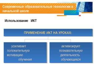 Современные образовательные технологии в начальной школе Использование ИКТ ПР