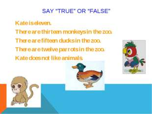 "SAY ""TRUE"" OR ""FALSE"" Kate is eleven. There are thirteen monkeys in the zoo."