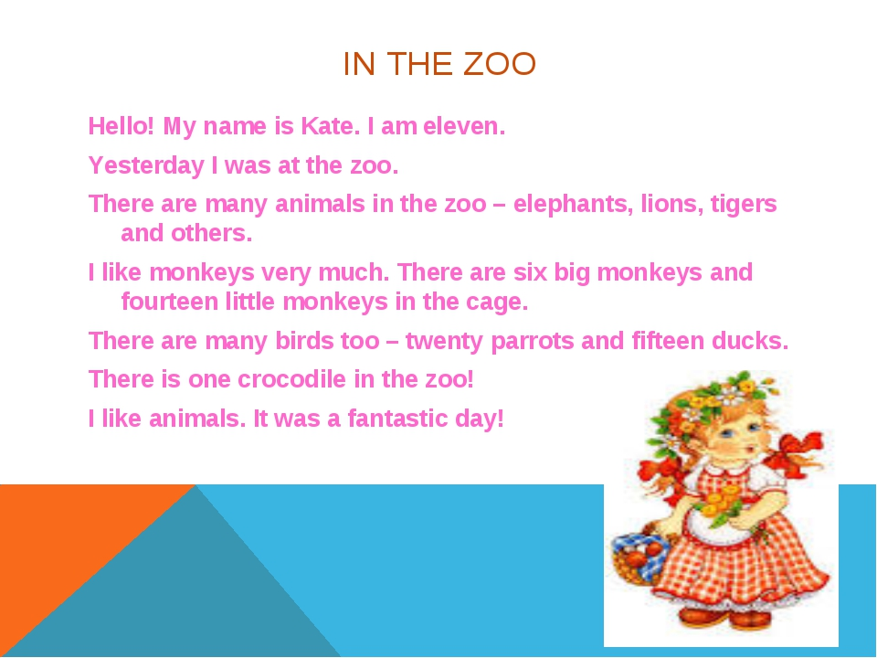 IN THE ZOO Hello! My name is Kate. I am eleven. Yesterday I was at the zoo. T...