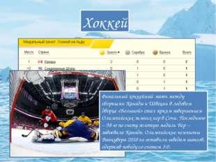 Хоккей Финальный хоккейный матч между сборными Канады и Швеции в ледовом двор