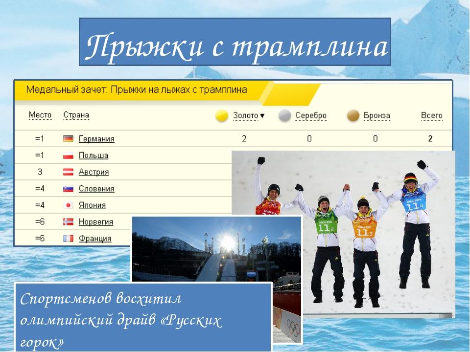 Прыжки с трамплина Спортсменов восхитил олимпийский драйв «Русских горок»