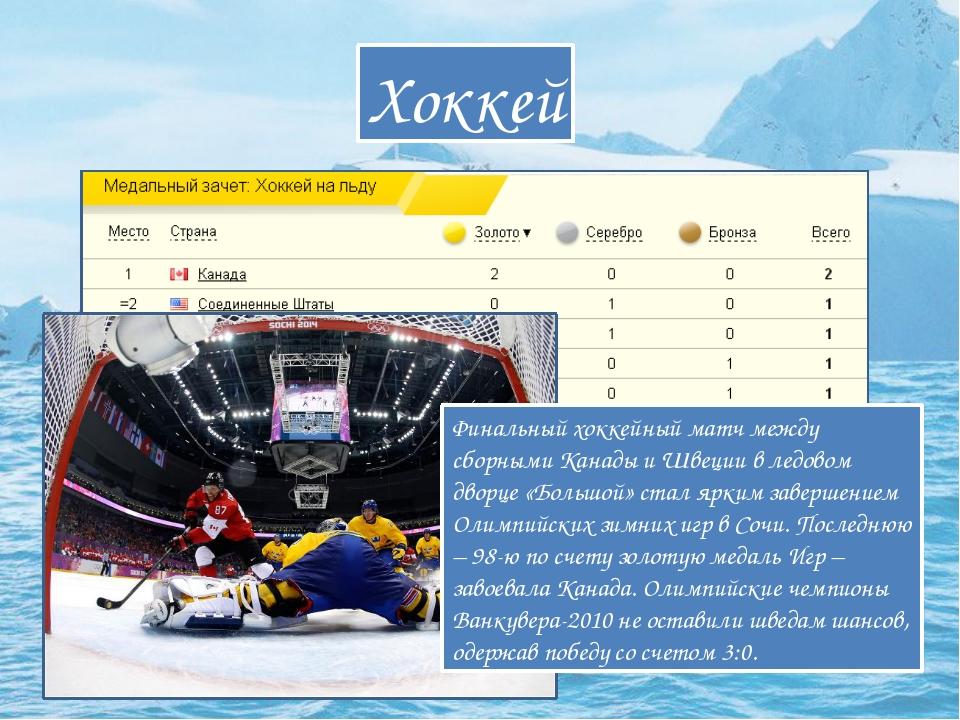 Хоккей Финальный хоккейный матч между сборными Канады и Швеции в ледовом двор...