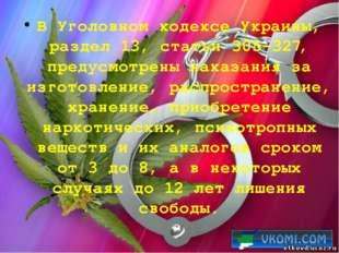 В Уголовном кодексе Украины, раздел 13, статьи 305-327, предусмотрены наказан