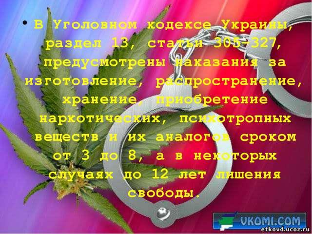 В Уголовном кодексе Украины, раздел 13, статьи 305-327, предусмотрены наказан...