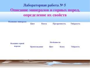 Описание минералов и горных пород, определение их свойств Лабораторная работа