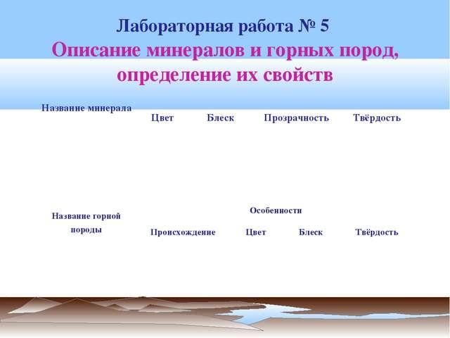 Описание минералов и горных пород, определение их свойств Лабораторная работа...
