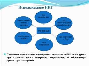 Использование ИКТ Применять компьютерные программы можно на любом этапе урока