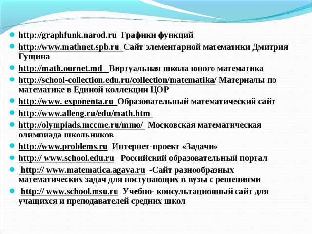 http://graphfunk.narod.ru Графики функций http://www.mathnet.spb.ru Сайт элем...
