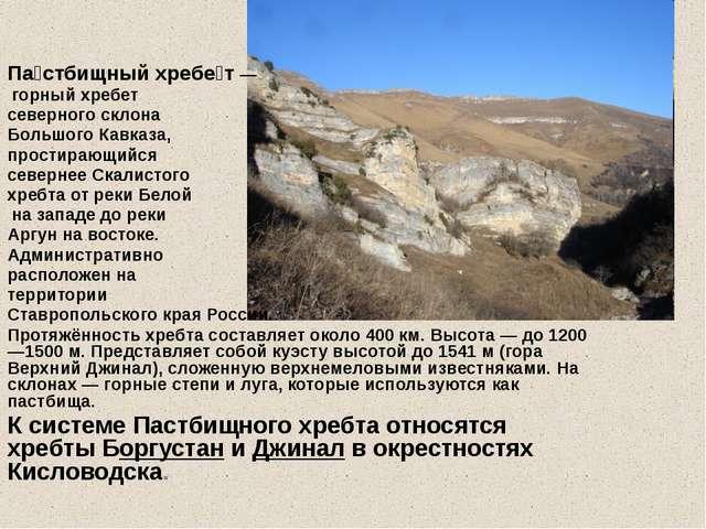 Речными долинами Пастбищный хребет разделен на более мелкие хребты — Боргуст...