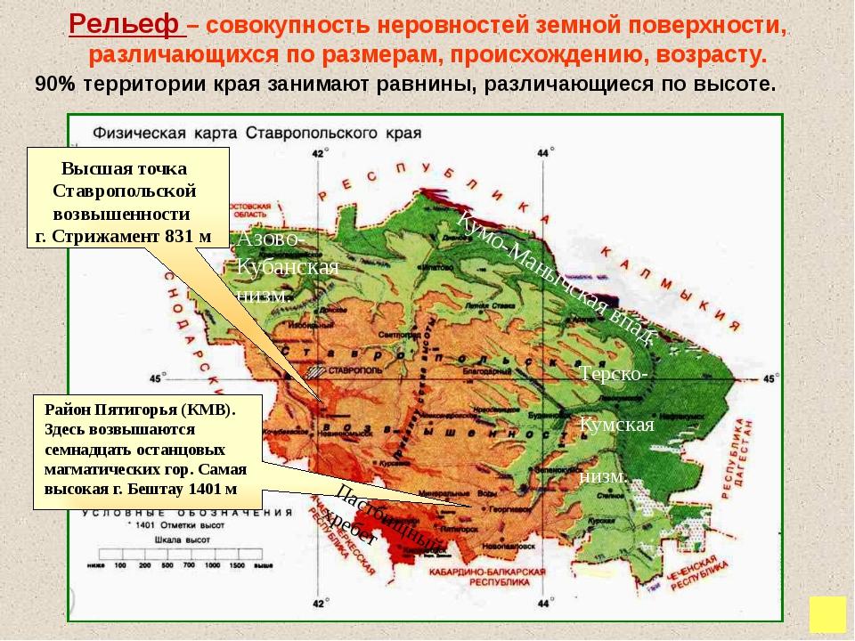Особенности рельефа. Равнины края. Большая часть территории Ставропольского...