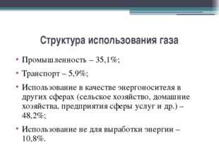 Структура использования газа Промышленность – 35,1%; Транспорт – 5,9%; Исполь