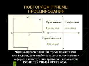 Чертеж, представленный тремя проекциями или видами, дает наиболее полное пред