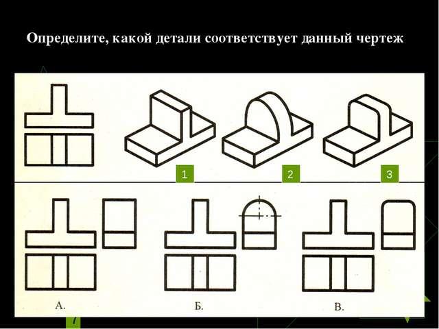 Определите, какой детали соответствует данный чертеж 1 2 3
