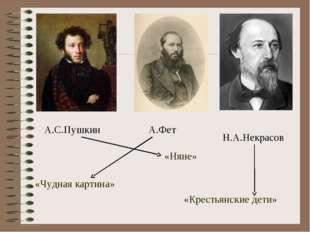 А.С.Пушкин А.Фет Н.А.Некрасов «Чудная картина» «Крестьянские дети» «Няне»