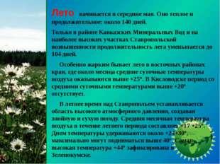 Лето начинается в середине мая. Оно теплое и продолжительное: около 140 дней