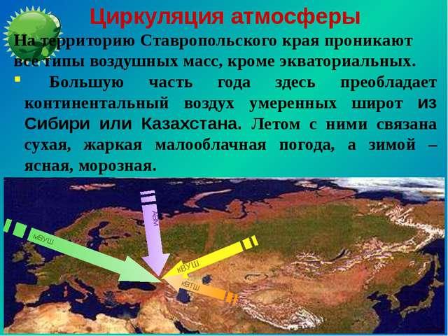 Циркуляция атмосферы На территорию Ставропольского края проникают все типы во...