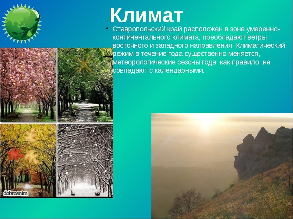 Климат Ставропольский край расположен в зоне умеренно-континентального климат...
